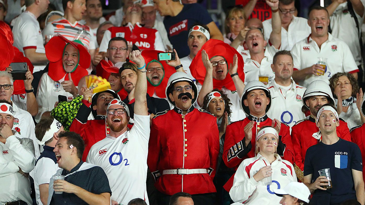 Fans of England show their support prior to the Rugby World Cup 2019 Final between England and South Africa at International Stadium Yokohama