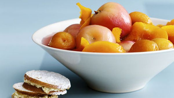 Lavender-poached stone fruit with walnut and honey cream sandwiches