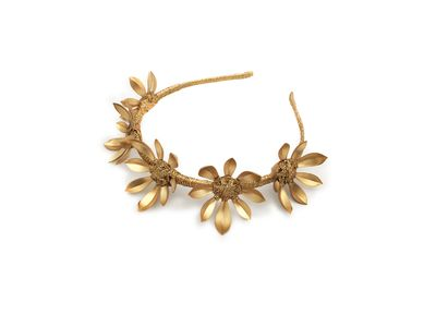 "<a href=""https://viktorianovak.com.au/collections/crowns-headbands/daisy-life.html"" target=""_blank"">Viktoria Novak</a> Daisy Life headband, $695."
