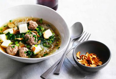 Chinese celery and pork soup with cellophane noodles