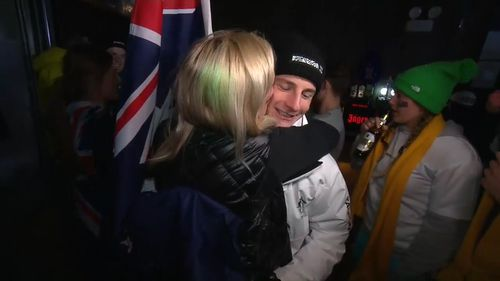 Celebration lasted well into the morning for Matt Graham and his family and friends (9NEWS)