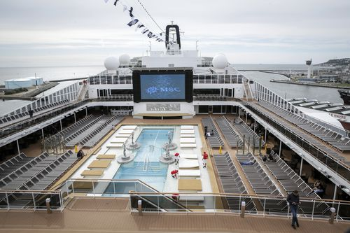 A file, general view of the upper deck pool area of the MSC Meraviglia cruise ship docked in Le Havre harbour, Normandy, France. Picture: Thomas Padilla