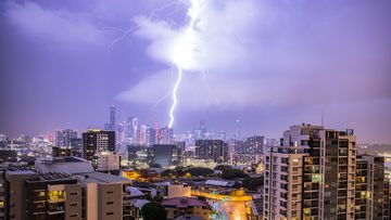 A storm over Brisbane last night.