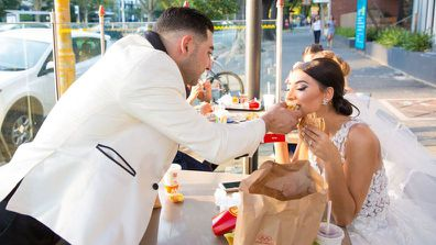 The couple treated themselves to McDonalds before the reception had taken place.