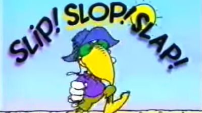 "Everyone knows to ""Slip Slop Slap"" because of the Anti -Cancer Council of Victoria's iconic skin cancer awareness campaign. The catchy slogan was trademarked in 1992."