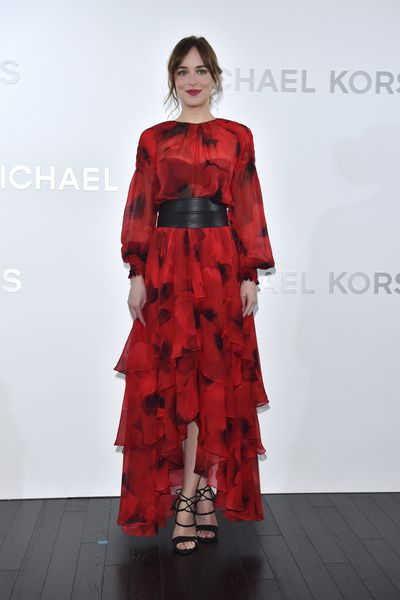 Dakota Johnson, in Michael Kors, at the opening of the Michael Kors flagship store in Toyko, Japan, November, 2015