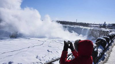 The cold snap has even frozen parts of Niagra falls.