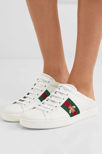 "<a href=""https://www.net-a-porter.com/au/en/product/895042/gucci/ace-embroidered-collapsible-heel-leather-sneakers"" target=""_blank"">Gucci Ace Embroidered Collapsible-Heel Leather Sneakers, $635.</a>"