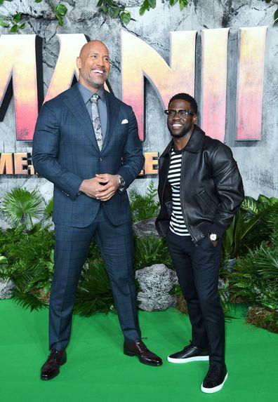 Dwayne Johnson, Kevin Hart, Jumanji premiere