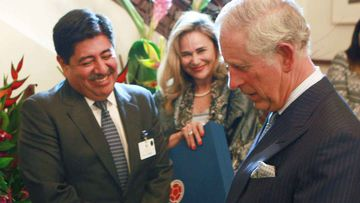 Luis Bedoya with Prince Charles in 2014. (AAP)