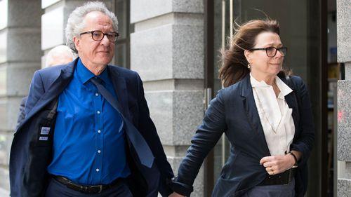 Geoffrey Rush and wife Janie Barrett Jane Menelaus, leave the Supreme Court in November 2018 (Photo: Janie Barrett).