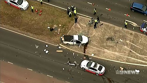 A mother and son are lucky to be alive after two men in a ute smashed into their car during a high-speed police pursuit.