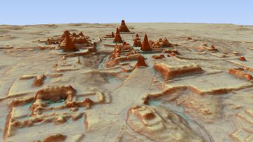 This digital 3D image provided by Guatemala's Mayan Heritage and Nature Foundation, PACUNAM, shows a depiction of the Mayan archaeological site at Tikal in Guatemala. (Canuto & Auld-Thomas/PACUNAM)