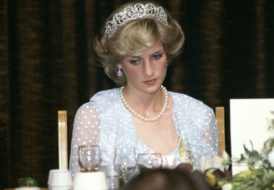 Princess Diana at a banquet in New Zealand in 1983.
