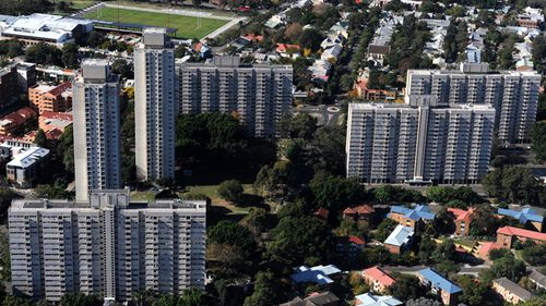 High density housing towers in the suburb of Redfern, Sydney. (AAP)