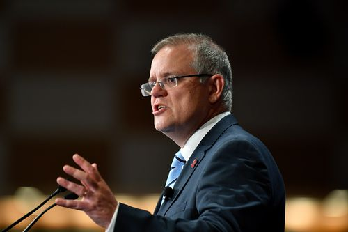 Scott Morrison giving a speech to Lifeline last week.