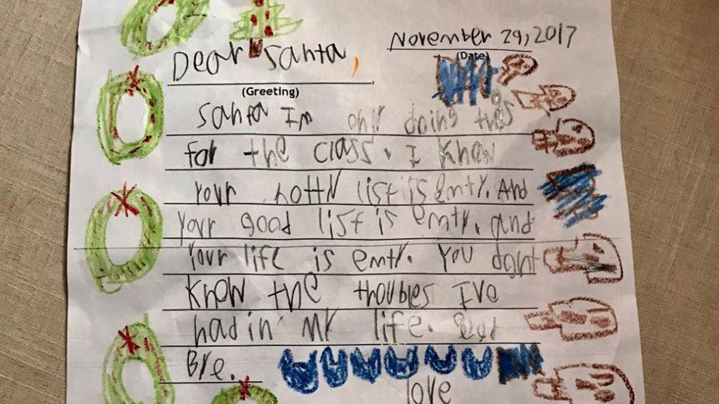 Year-old's Christmas letter tells Santa Claus his life is empty