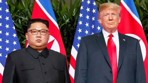 US President Donald Trump and Kim Jong-un during their summit meeting in Singapore last year.