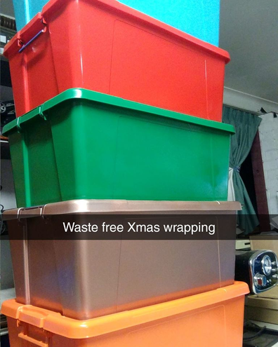Plastic tubs Christmas wrapping hack