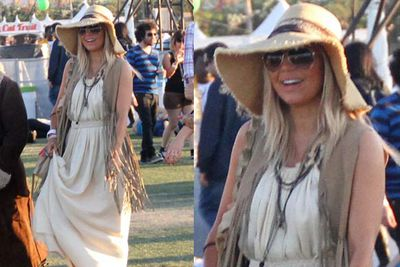 We don't know what look Fergie was going for (eccentric country grandma?) — but it's overpowering. And not in a good way.<br/><br/><i>Fergie at Coachella Festival 2012 <br/>Image: Charlie Luciano/startraksphoto.com/Snappermedia</i>