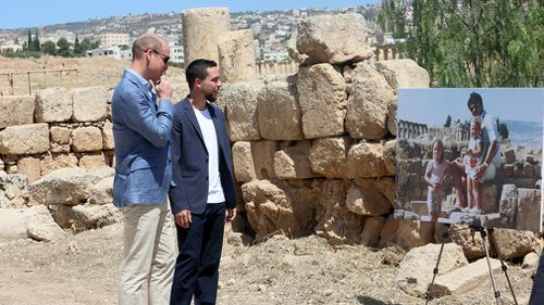 After attending a reception marking the birthday of his grandmother, Queen Elizabeth II, William was accompanied by Prince Hussein to the Jerash ruins. Picture: AP