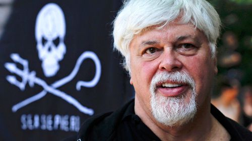 Paul Watson, founder and President of the animal rights and environmental group Sea Shepherd Conservation takes part in a demonstration against the Costa Rican government near Germany's Presidential residence. (Image: AAP)
