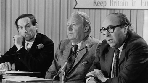 Liberal Democrat Party politician Jeremy Thorpe, Conservative Party politician Edward Heath and Labour Party politician Roy Jenkins during a press conference in London in May 1975. (Getty)