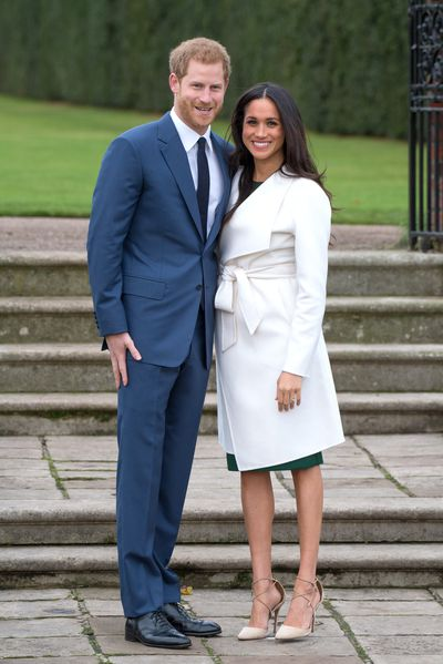 Meghan Markle in a Mackage coat and Aquazzura heels at her engagement photocall to Prince Harry, November 2017
