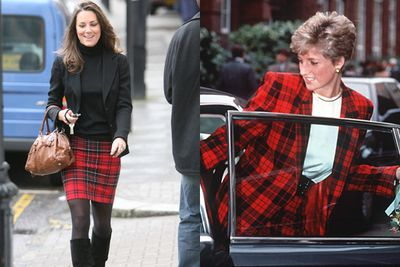 Kate goes for a tartan skirt, whereas Di was brave in all out plaid.