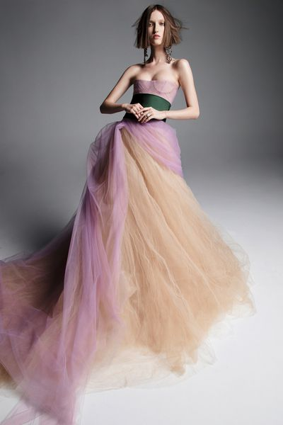 """<p>Attention prospective contestants for the next season of&nbsp;<em>Married At First Sight.</em></p> <p>Designer and aisle attire darling, Vera Wang, has revealed her latest bridal collection and there isn&rsquo;t a speck of white to be seen.</p> <p>The former <em>Vogue </em>editor has thrown white lace, tulle and silk to the side in her Spring/Summer&rsquo;19 collection.&nbsp; Instead she has created 12 show-stopping silhouettes bathed in soft colour.</p> <p>""""I&nbsp;wanted to explore translucency and movement, and obviously, colour, but in a new way,&rdquo; she explained to <em><a href=""""https://www.vogue.com/fashion-shows/bridal-spring-2019/vera-wang#coverage"""" target=""""_blank"""">US Vogue.</a></em></p> <p>""""In order to ignore certain &lsquo;bridal&rsquo; dictums, like white, beading, acres of lace, and traditional ball skirts.&rdquo;<br /> Wang&rsquo;s risk has paid off. </p> <p>The result is a collection full of romantic gowns in colours such as pale pink, muted yellow, taupe, and mulberry.</p> <p>Click through to see what colour brides-to-be will be bathing themselves in this season.</p>"""