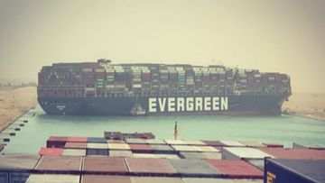 The Ever Given (labelled as the Evergreen) is jammed in the Suez Canal.