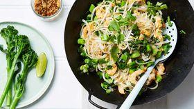 Prawn and broccolini pad Thai