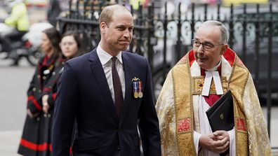 The Duke of Cambridge greeted by Dean of Westminster, John Hall ahead of the event.