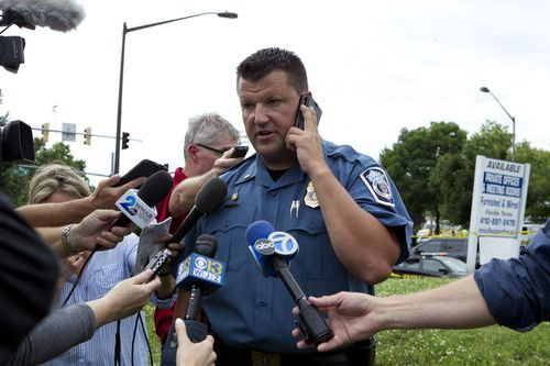 Maryland Police Lt. Ryan Frashure speaks to the media at the scene after the shooting. (AAP)