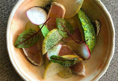 "Recipe: <a href=""http://kitchen.nine.com.au/2016/05/05/09/56/matt-morans-seared-kingfish-with-radish-avocado-and-wasabi"" target=""_top"">Matt Moran's seared kingfish with radish, avocado and wasabi</a>"
