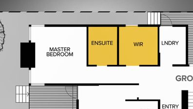 Jimmy and Tam's Master Ensuite and Walk-In Robe layout, after. The Block 2020.