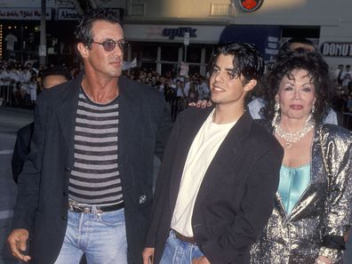"Sylvester Stallone, son Sage Stallone and mother Jackie Stallone attend the ""True Lies"" Westwood Premiere on July 12, 1994 at the Mann Village Theatre in Westwood, California."