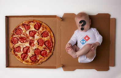 Domino's pizza box with baby