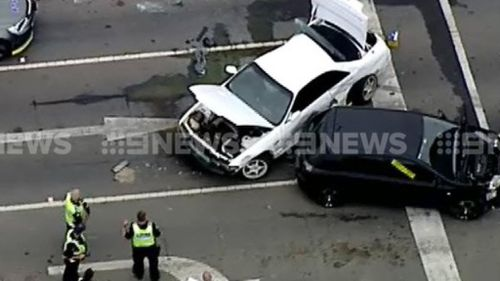 A man has been arrested after allegedly crashing a stolen white Nissan into another car in Berwick. (9NEWS)