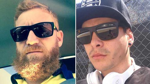 Hardened tradies Jamie Byers, pictured left, and Jason Allen took a moment out of their busy work schedules to reacquaint themselves with the spirit of Saint Valentine. (Supplied)