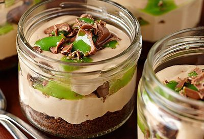 Chocolate peppermint cheesecake in a glass