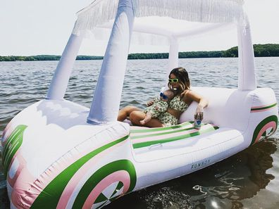Maren Morris was slammed for posting a photo of her and her baby on the inflatable toy.
