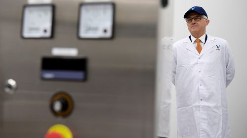 Mr Turnbull toured the new Vitex Pharmaceuticals factory in Eastern Creek. (AAP)