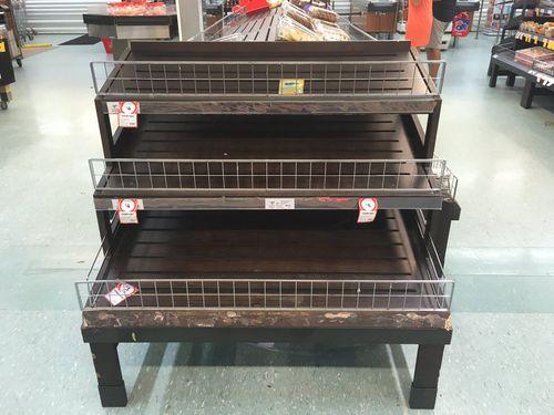 Empty shelves at a Broome supermarket. (Rebecca Johns)