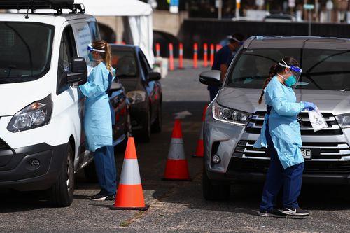 Nurses are seen conducting  COVID-19 tests at the Bondi Beach testing clinic on November 04, 2020 in Sydney, Australia.