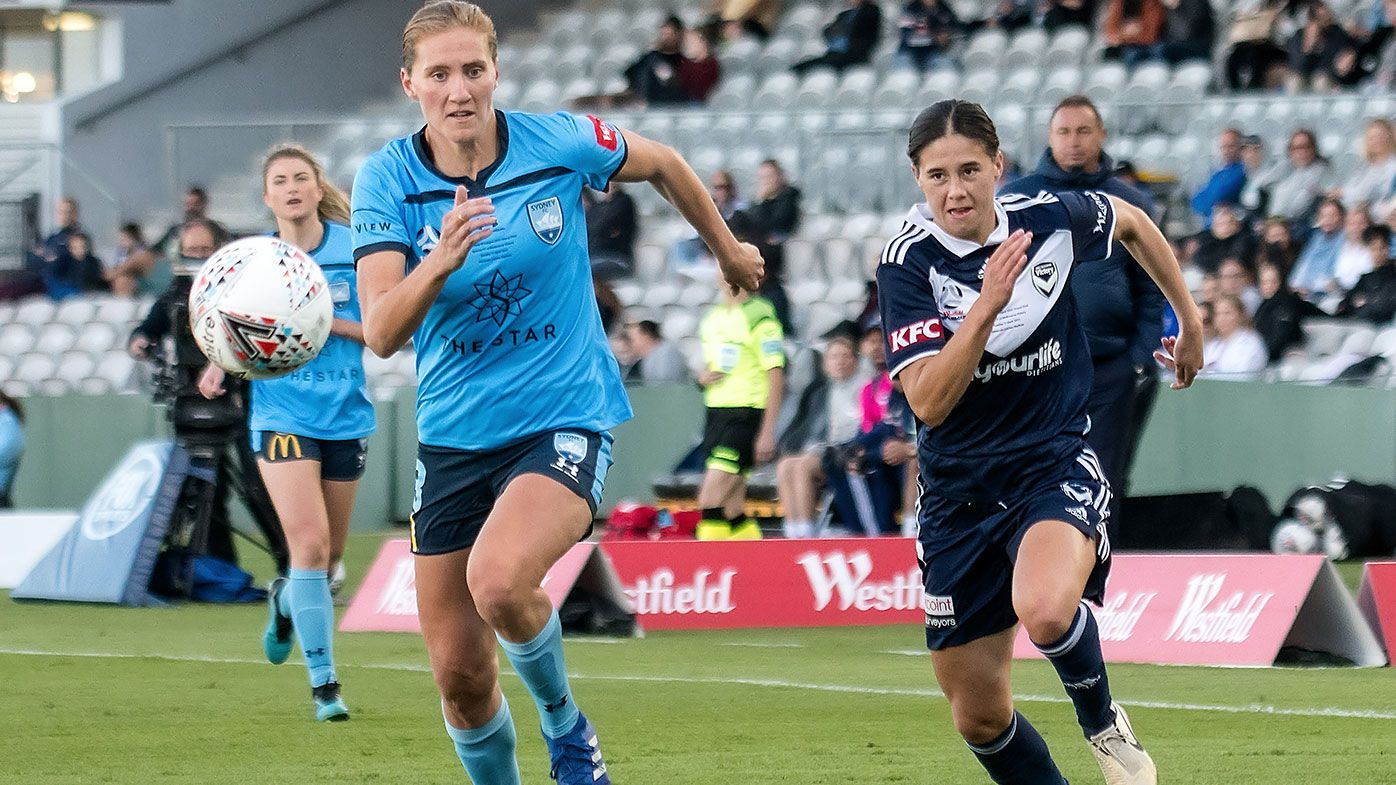 Kyra Cooney-Cross of Melbourne Victory during the Westfield W-League Grand Final match between Sydney FC and Melbourne Victory on April 11, 2021 at Netstrata Jubilee Stadium in Sydney, Australia. (Photo by Amy Halpin/Speed Media/Icon Sportswire via Getty Images)