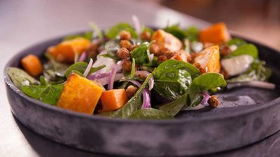 """Recipe: <a href=""""http://kitchen.nine.com.au/2017/09/28/15/00/spiced-chickpea-pumpkin-and-spinach-salad"""" target=""""_top"""">Spiced chickpea, pumpkin and spinach salad</a><br /> <br /> More: <a href=""""http://kitchen.nine.com.au/2017/09/28/15/13/world-heart-day-recipes"""" target=""""_top"""">World Heart Day recipes</a>"""
