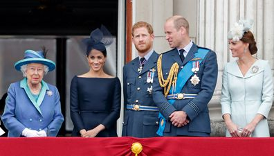Queen Elizabeth with Harry, Meghan, William and Kate at Trooping the Colour.