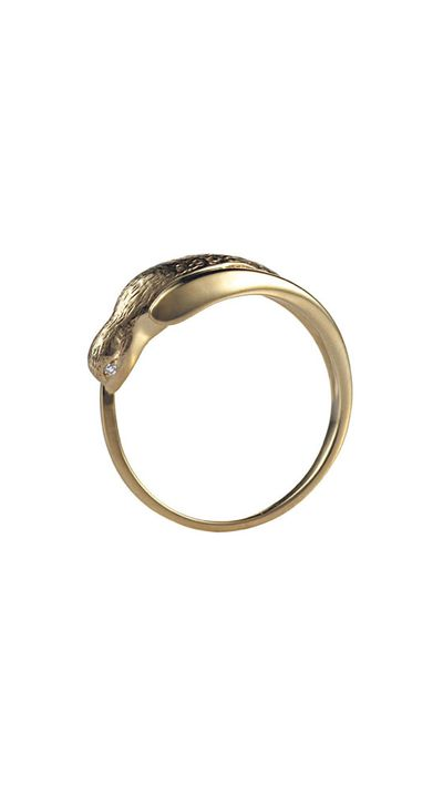 """<a href=""""http://www.jordanaskill.com/collections/all/products/single-swallow-ring"""">Single Swallow Ring With Diamond Eyes, approx. $1,054, Jordan Askill</a>"""