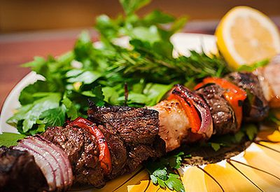 Barbecue shashlik beef skewers
